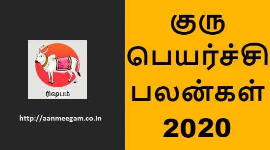 Rishabam Guru Peyarchi 2020-21